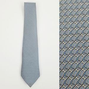 Hermes blue H 100% silk tie tie
